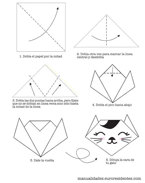como hacer un gato con papiroflexia